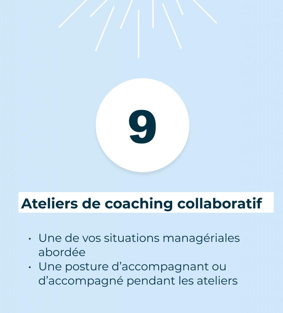 10 Ateliers de coaching collaboratif. Afin d'apprendre à identifier vos problèmes et vos croyances. Pour ensuite trouver des solutions inédites par vous-mêmes avant de les mettre en œuvre dans votre entreprise.