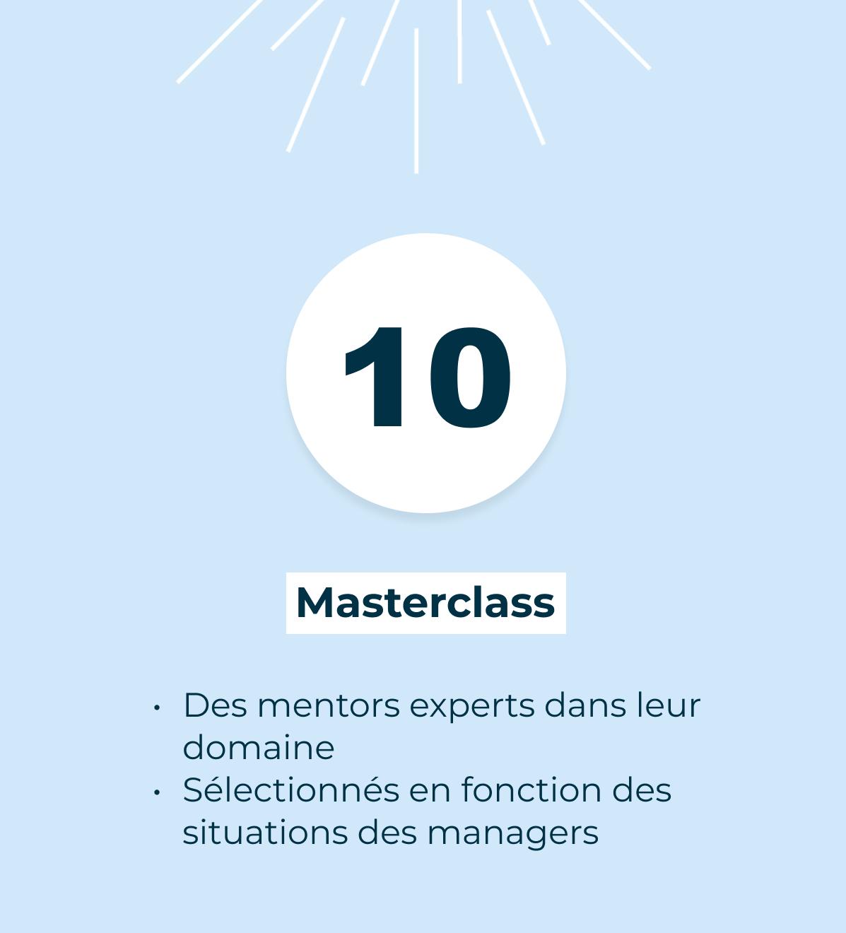 10 Masterclass Un thème, un mentor, un retour d'expérience. À partir d'un sujet sélectionné en fonction des sujets abordés par la communauté